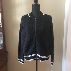A New Day Black Full Zip Nubby Cardigan Sweater